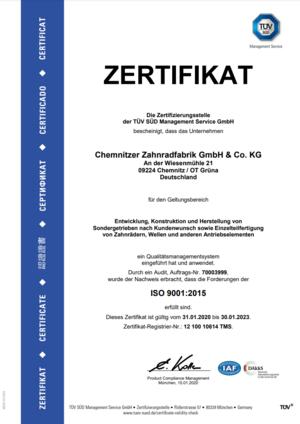 Zertifikat DIN ISO 9001 2015 German