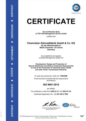 Zertifikat DIN ISO 9001 2015 Englisch